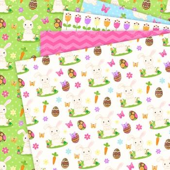 Easter Bunny Digital Paper Background Spring patterns Egg hunt.