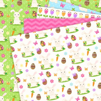 Easter Bunny Digital Paper Background Spring patterns Egg hunt.