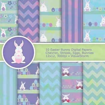 Easter Bunny Digital Paper Pack Sale - 10 Scenic Easter Eg