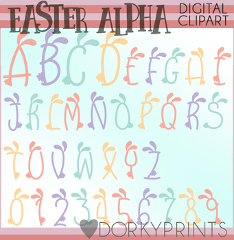 Easter Bunny Ears Font Clipart