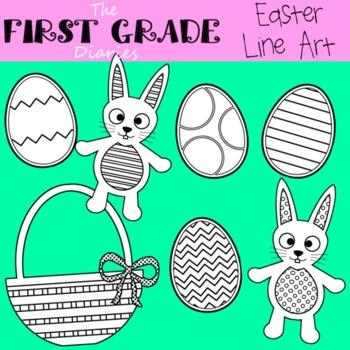 Easter Bunny & Eggs {Digital Line Art}