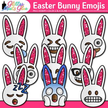 Easter Bunny Emoji Clip Art   Emoticons for Brag Tags and Classroom Decor