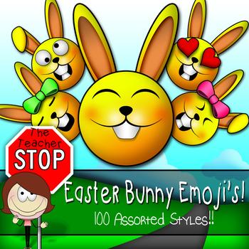 Easter Bunny Emoji Smileys - 100 Styles!! {The Teacher Stop}