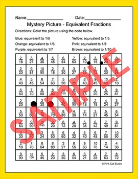 Easter Math Equivalent Fractions Mystery Picture - Easter Bunny and Chick on Egg