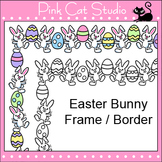 Borders - Easter Bunny Frame / Border Clip Art - Personal & Commercial Use