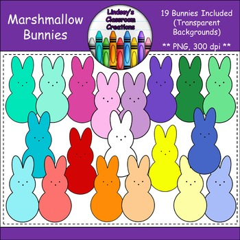 Easter Bunny Marshmallow Peeps Clipart {Commercial & Personal Use}