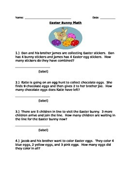 Easter Bunny Math:  Adding and Subtracting to 10 word problems