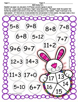 Easter Math Game ~ Find the Matching Sum ~ Partner Game