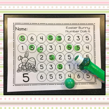 Easter Bunny Number 0 - 25 Dab It Worksheets - S