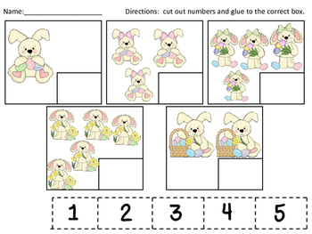 Easter Bunny Numeral-Quantity Matching