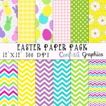 Easter Bunny Peeps and Eggs Colorful Spring Digital Paper Set Backgrounds