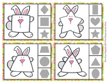 Easter Bunny Shapes Clip Cards