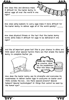 Free Easter Bunny Six Thinking Hats Problem Solving No Prep AUS UK
