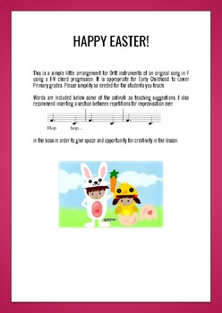 Easter Bunny Song and Orff Arrangement early childhood
