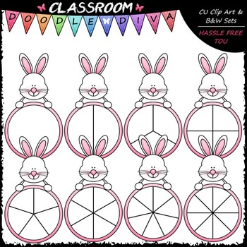 Easter Bunny Spinners Clip Art - Games Clip Art & B&W Set