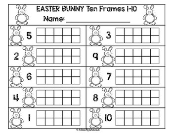 Easter Bunny Ten Frame Puzzles 1-20
