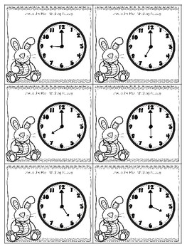 Easter Bunny Time to the Hour Matching Cards (Digit, Analog, and Word)