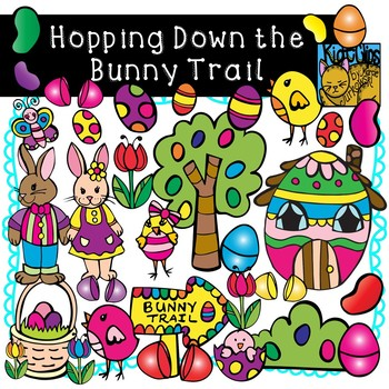 Easter Bunny Trail Clip Art by Kid-E-Clips Commercial and Personal Use