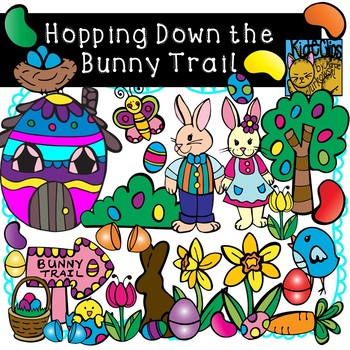 Easter Bunny Trail Clip Art by Kid-E-Clips Commercial and