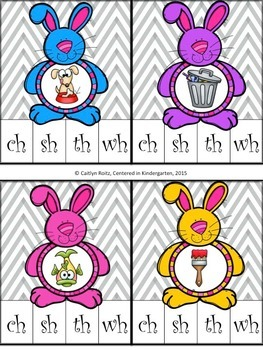 Easter Bunny Tummy Digraph Clip Cards