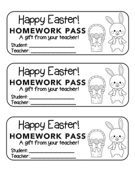"""Easter"" Bunny With Basket - Homework Pass! (color & black line)"