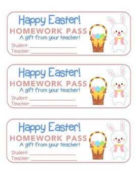 """""""Easter"""" Bunny With Basket - Homework Pass – Holiday FUN! (full color)"""