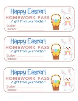 """Easter"" Bunny With Basket - Homework Pass – Holiday FUN!"