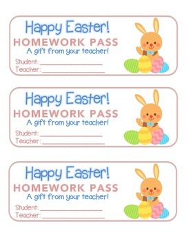 """Easter"" Bunny With Eggs - Homework Pass – Holiday FUN! (full color version)"