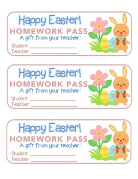 """Easter"" Bunny With Flower - Homework Pass –Holiday FUN! (color & black line)"
