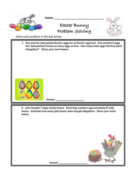 Easter Bunny Word Problems