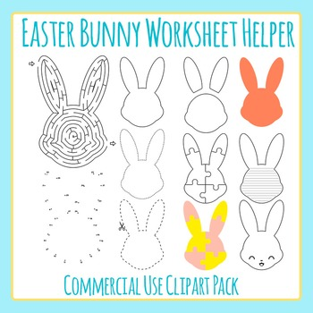 Easter Bunny Worksheet Helper Clip Art for Commercial Use