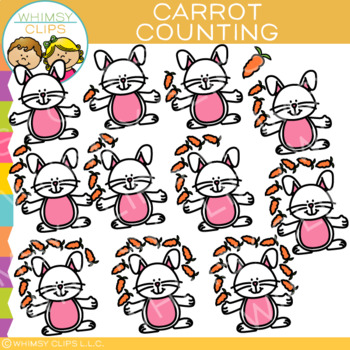 Easter Bunny and Carrot Counting Clip Art