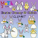 Easter Bunny and Chick Clipart