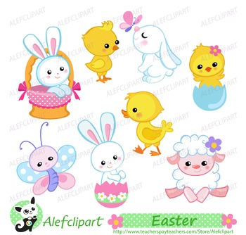 Easter Bunny and Chicks Clipart.  Digital clipart . Instant Download