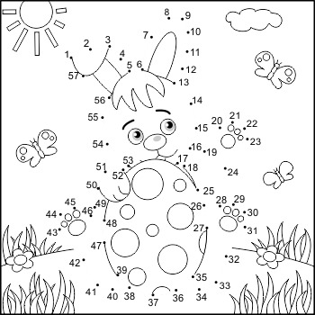 Connect The Dots And Coloring Page With Easter Bunny