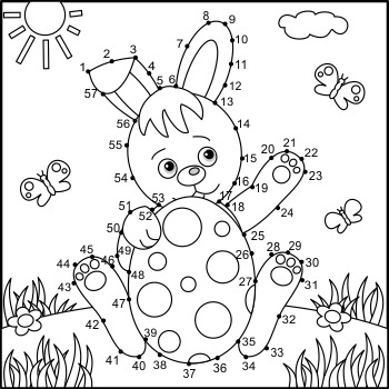 Connect the Dots and Coloring Page with Easter Bunny, Commercial Use Allowed