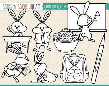 Easter Bunny at School Clip Art - color and outlines