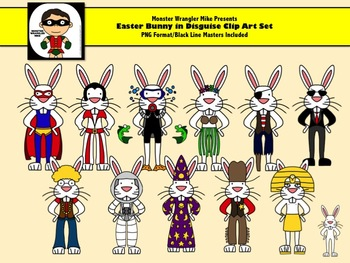 Easter Bunny in Disguise Clip Art Set