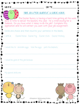 Easter Bunny's Sidekick -- Writing Activity