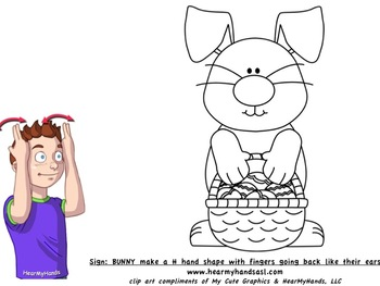 Easter Bunny sign language coloring page
