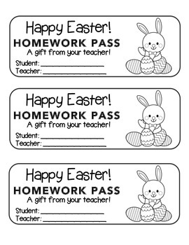 """Easter"" Bunny with Eggs - Homework Pass –Holiday FUN! (black line version)"