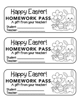 """Easter"" Bunny with Flower - Homework Pass –Holiday FUN! (black line)"