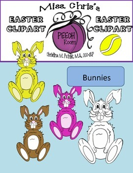Easter CLIPART {bunnies~chicks~eggs}  Many Colors and Black/White