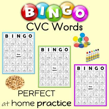 CVC Words Bingo Sheets Spring Themed