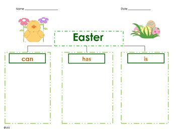 Easter- Can/Has/Is Graphic Organizer