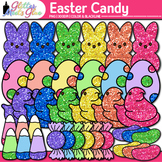 Easter Candy Clip Art | Rainbow Glitter Peeps, Chicks, Jelly Beans, and Candies