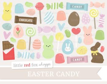 Easter Candy Clipart; Chocolate, Lollipop, Jellybean, Egg, Candy Bar