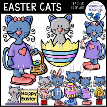 Easter Cats Clip Art - Whimsy Workshop Teaching