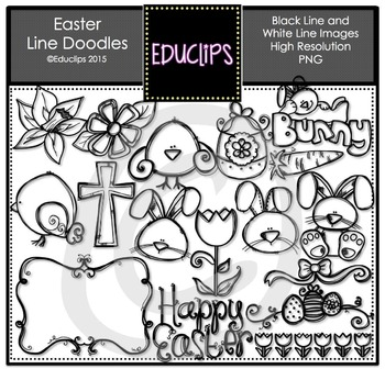 Easter Chalkboard and Whiteboard Line Doodles Clip Art {Educlips Clipart}