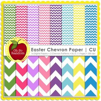 Easter Chevron Digital Paper   CU